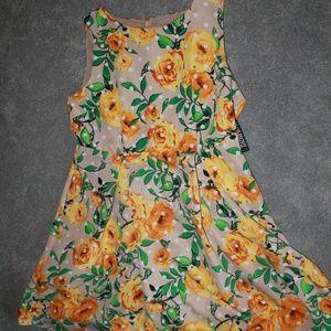 NWT yellow floral dress NY&C Sz 20 Polka dot Midi